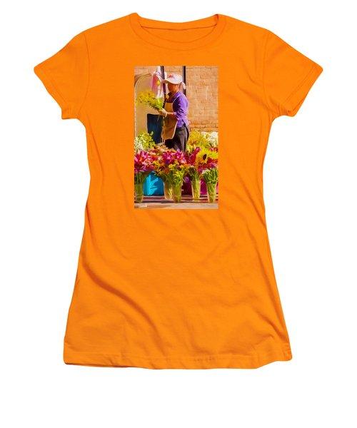 Women's T-Shirt (Junior Cut) featuring the photograph Flower Lady by Trey Foerster