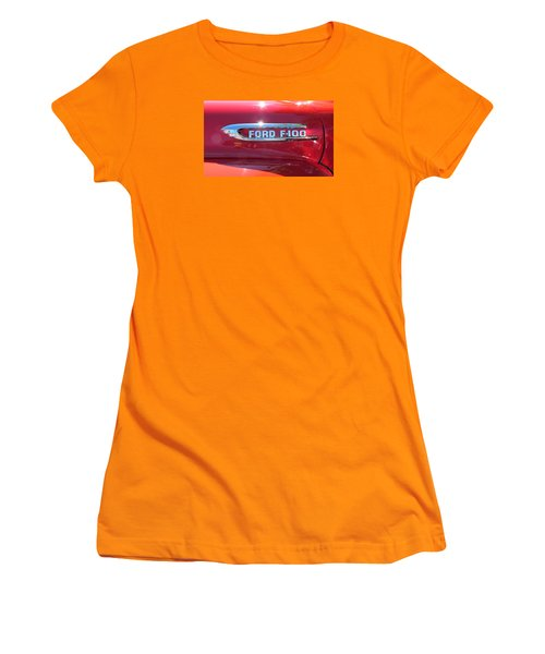 Women's T-Shirt (Junior Cut) featuring the photograph Ford F-100 Logo by Spyder Webb