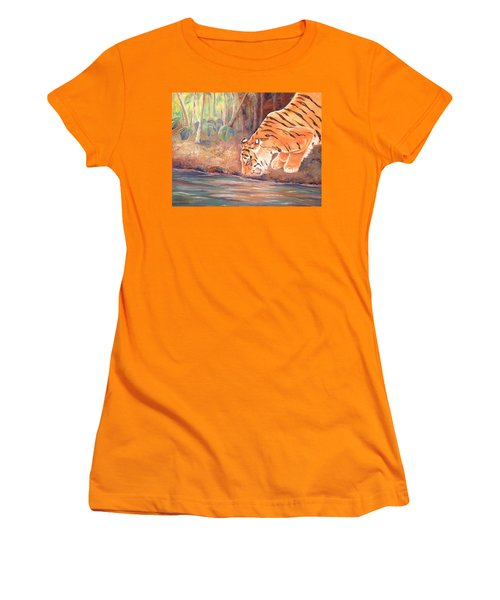 Women's T-Shirt (Junior Cut) featuring the painting Forest Tiger by Elizabeth Lock