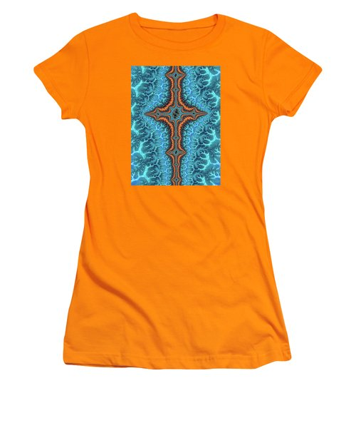 Women's T-Shirt (Athletic Fit) featuring the digital art Fractal Cross Turquoise And Orange by Matthias Hauser