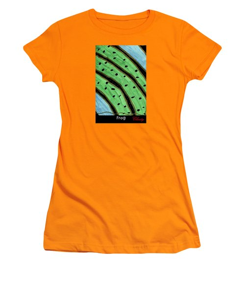 Women's T-Shirt (Athletic Fit) featuring the painting Frog by Clarity Artists