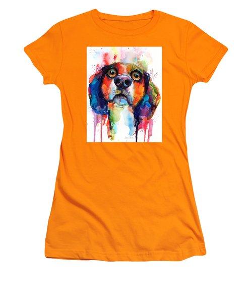 Funny Beagle Dog Art Women's T-Shirt (Junior Cut) by Svetlana Novikova