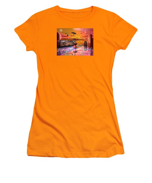 Women's T-Shirt (Junior Cut) featuring the digital art Future Horizions Firey Sunset by Jacqueline Lloyd