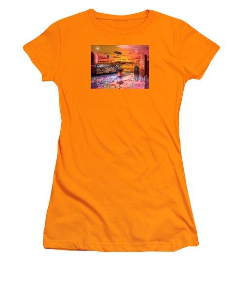 Future Horizions Firey Sunset Women's T-Shirt (Junior Cut) by Jacqueline Lloyd