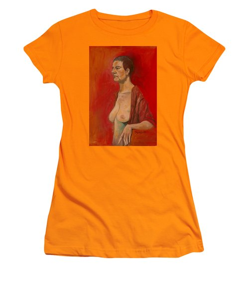Women's T-Shirt (Junior Cut) featuring the painting Gabrielle Standing by Ray Agius