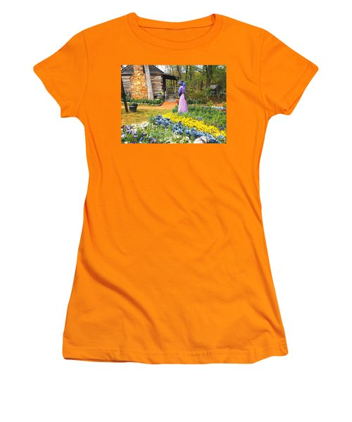 Women's T-Shirt (Athletic Fit) featuring the painting Garden Walk by Donna Dixon