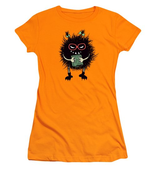Geek Evil Bug Character Loves Reading Women's T-Shirt (Athletic Fit)