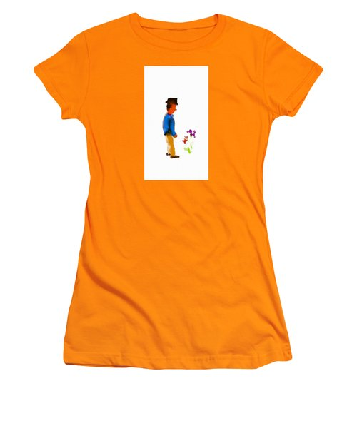 Gentleman Stops To Smell The Flowers Women's T-Shirt (Athletic Fit)