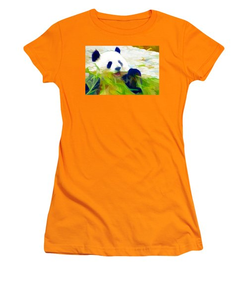 Women's T-Shirt (Junior Cut) featuring the painting Giant Panda Bear Eating Bamboo by Lanjee Chee