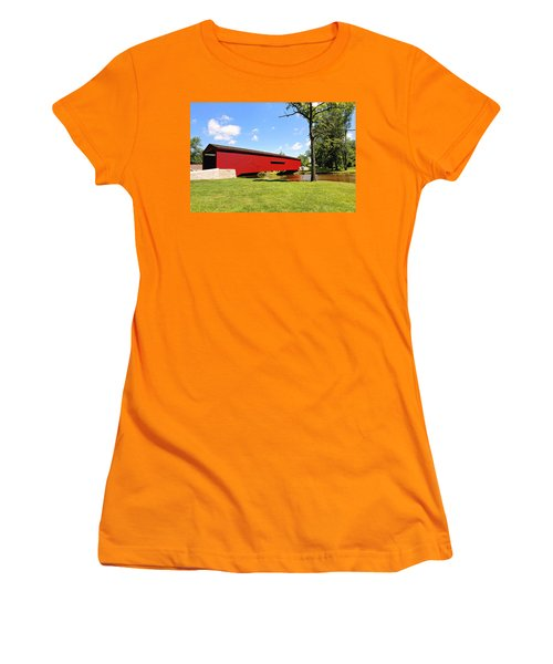 Women's T-Shirt (Junior Cut) featuring the photograph Gilpin's Falls Covered Bridge by Trina  Ansel