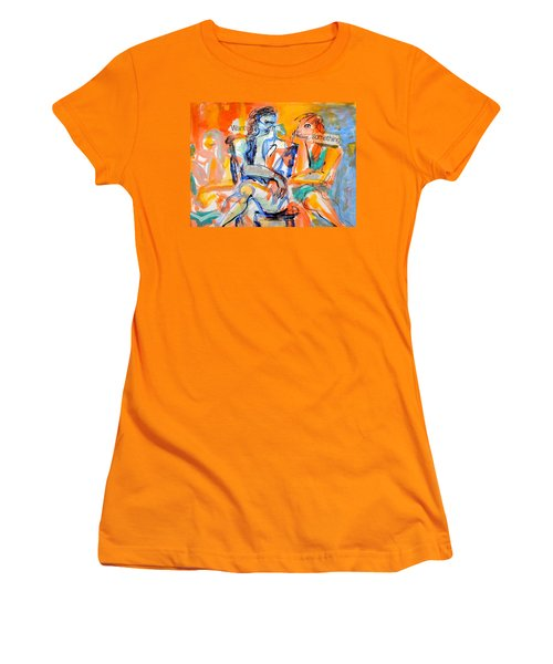 Women's T-Shirt (Junior Cut) featuring the painting Girl Talk by Mary Schiros
