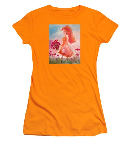 Girl With Poppies Women's T-Shirt (Athletic Fit)