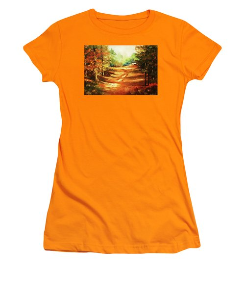 Glory Road In Autumn Women's T-Shirt (Junior Cut) by Al Brown