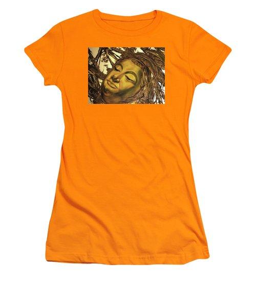 Gold Buddha Head Women's T-Shirt (Athletic Fit)