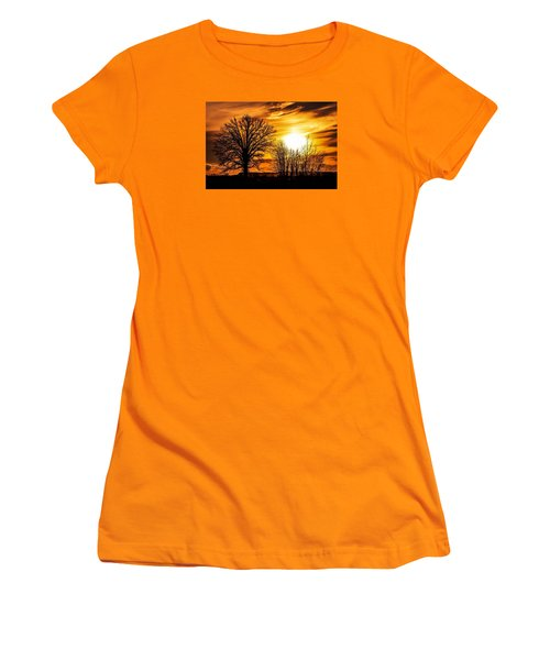 Golden Brushstrokes Women's T-Shirt (Athletic Fit)