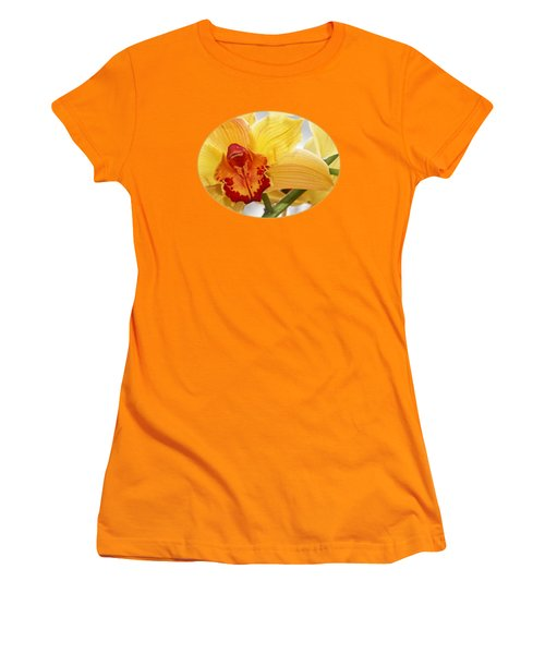 Golden Cymbidium Orchid Women's T-Shirt (Junior Cut) by Gill Billington