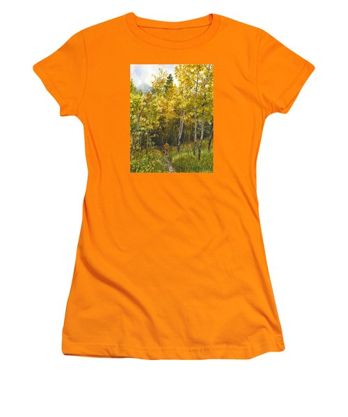 Women's T-Shirt (Junior Cut) featuring the painting Golden Solitude by Anne Gifford