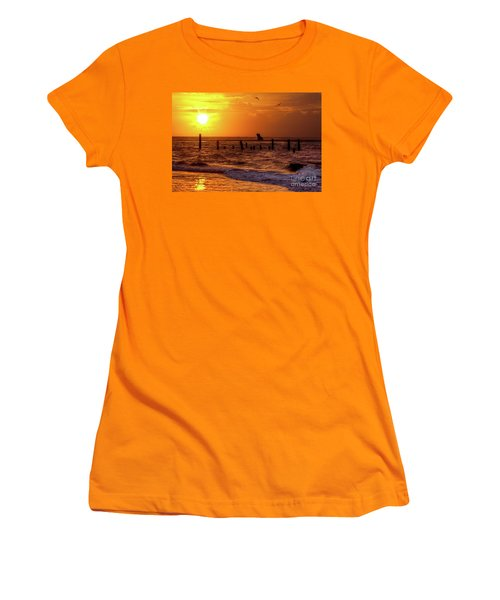 Women's T-Shirt (Junior Cut) featuring the photograph Golden Sunrise On The Outer Banks by Dan Carmichael