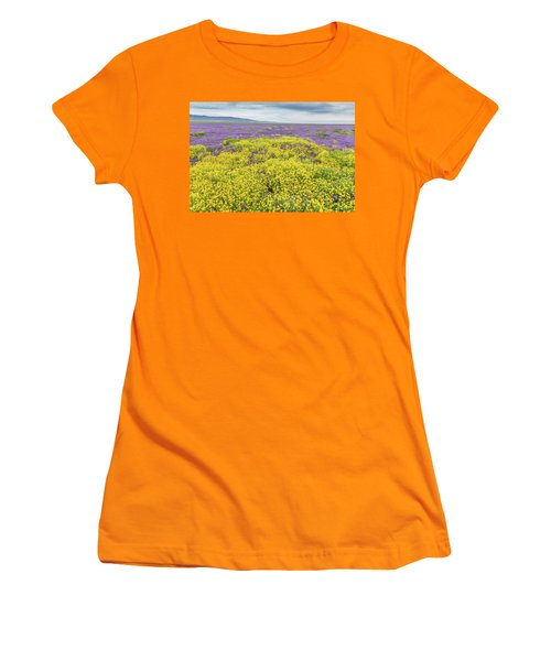 Women's T-Shirt (Junior Cut) featuring the photograph Goldfield And Phacelia by Marc Crumpler