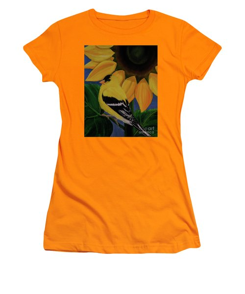 Goldfinch And Sunflower Women's T-Shirt (Athletic Fit)