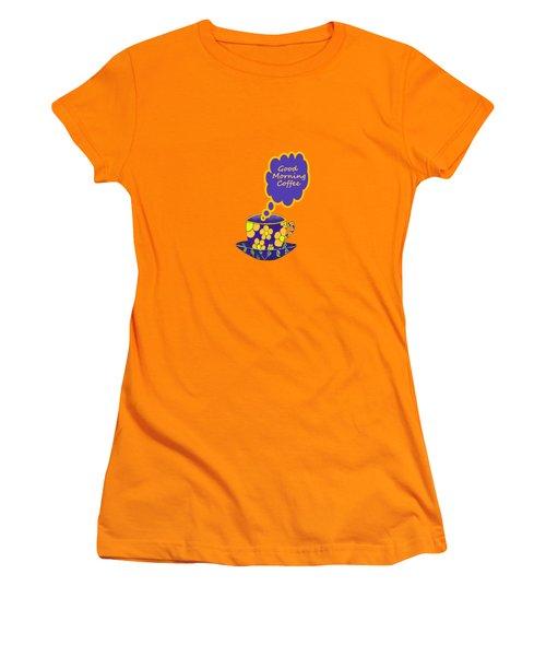 Good Morning Coffee Women's T-Shirt (Junior Cut) by Kathleen Sartoris