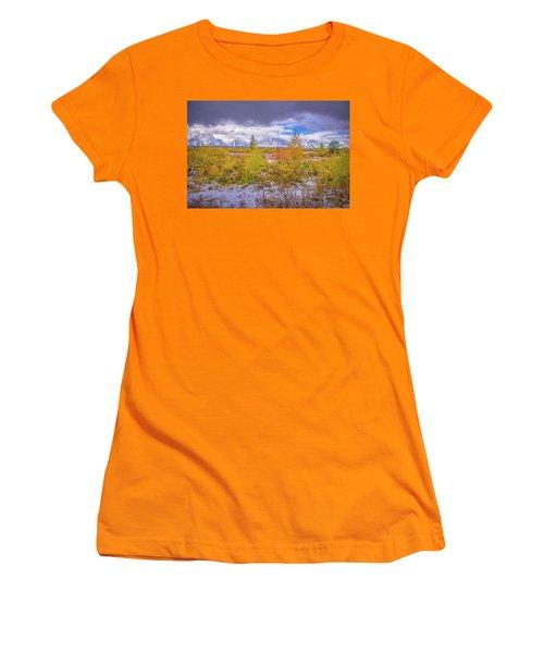 Grand Teton Fall Snowfall Women's T-Shirt (Athletic Fit)