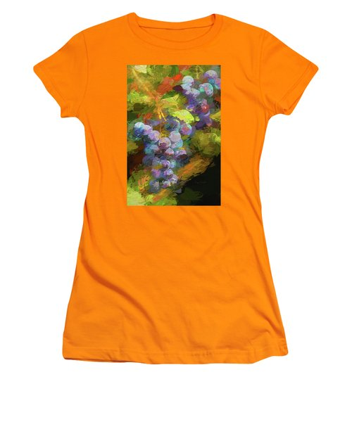 Grapes In Abstract Women's T-Shirt (Junior Cut) by Penny Lisowski