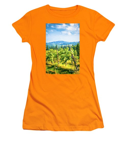 Women's T-Shirt (Athletic Fit) featuring the photograph Grapevine In San Gimignano Tuscany by Silvia Ganora