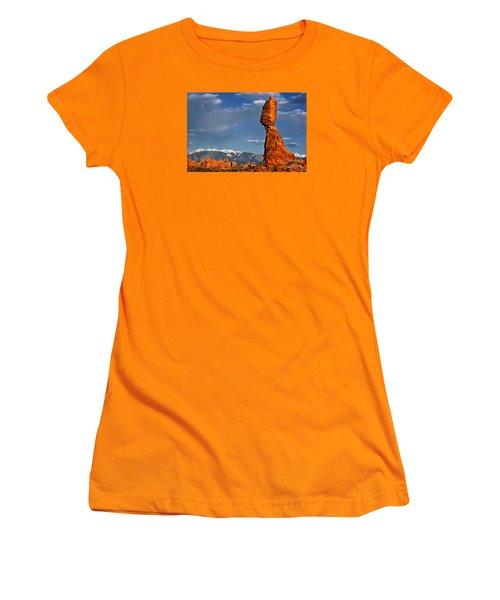 Gravity Defying Balanced Rock, Arches National Park, Utah Women's T-Shirt (Junior Cut) by Sam Antonio Photography