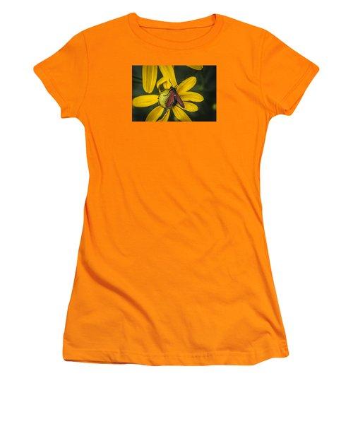 Green Headed Coneflower Moth Women's T-Shirt (Junior Cut) by Rich Franco