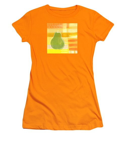 Women's T-Shirt (Junior Cut) featuring the painting Green Pear- Art By Linda Woods by Linda Woods