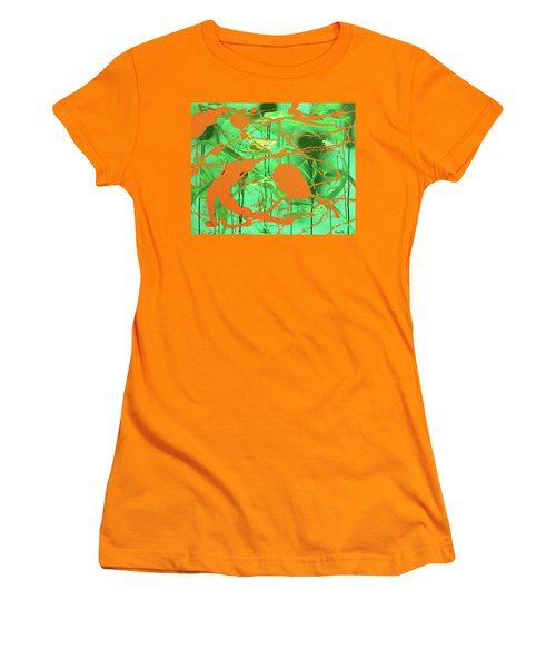 Women's T-Shirt (Junior Cut) featuring the painting Green Spill by Thomas Blood