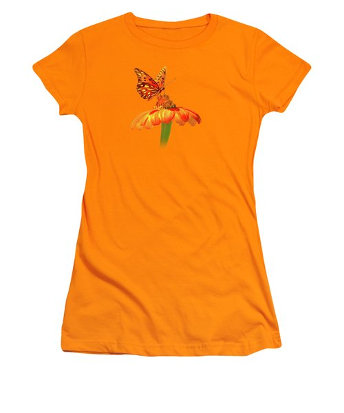 Women's T-Shirt (Junior Cut) featuring the photograph Gulf Fritillary Landing by Mark Andrew Thomas