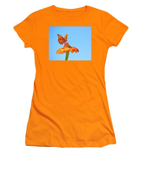Gulf Fritillary Landing Women's T-Shirt (Athletic Fit)
