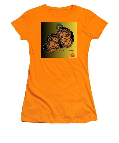 Women's T-Shirt (Junior Cut) featuring the digital art Happy Diwali by Latha Gokuldas Panicker