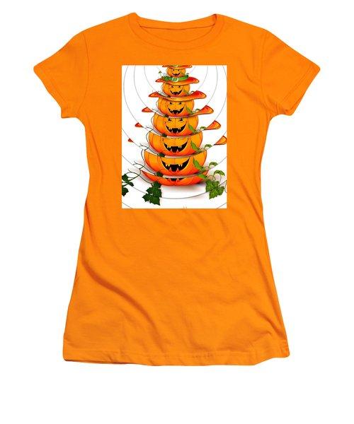 Women's T-Shirt (Athletic Fit) featuring the digital art Happy Halloween Pumpkin Art by Sheila Mcdonald