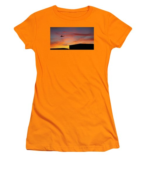Women's T-Shirt (Junior Cut) featuring the photograph Helicopter And The Sunset by Angi Parks