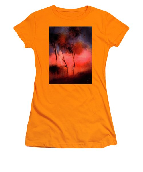 Women's T-Shirt (Athletic Fit) featuring the digital art Hillside Trees by Jim Vance