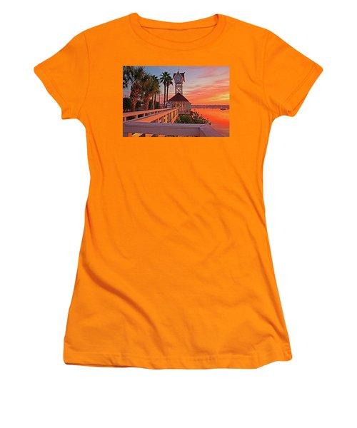 Historic Bridge Street Pier Sunrise Women's T-Shirt (Athletic Fit)