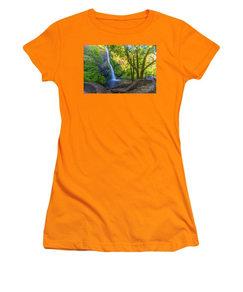 Women's T-Shirt (Athletic Fit) featuring the photograph Horesetail Falls by Jonny D