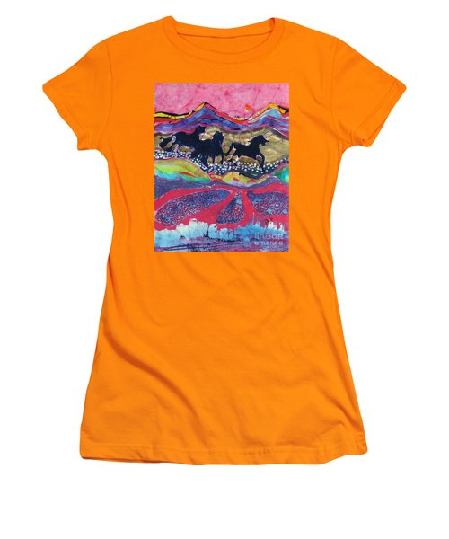 Horses Running Thru A Stream Women's T-Shirt (Athletic Fit)