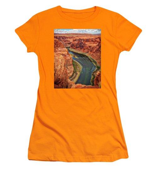 Women's T-Shirt (Junior Cut) featuring the photograph Horseshoe Bend Arizona - Colorado River #3 by Jennifer Rondinelli Reilly - Fine Art Photography