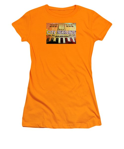 Women's T-Shirt (Junior Cut) featuring the mixed media Hot City Textures by John Fish
