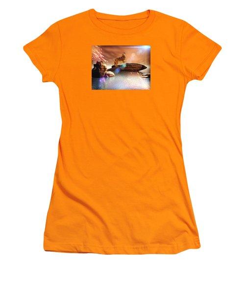 Howling Wolf Tropical Women's T-Shirt (Junior Cut) by Jacqueline Lloyd