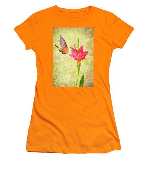 Women's T-Shirt (Junior Cut) featuring the digital art Hummingbird And Flower by Christina Lihani