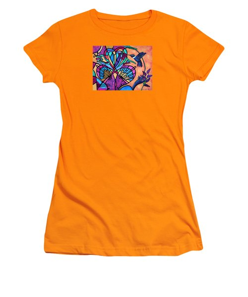 Women's T-Shirt (Junior Cut) featuring the painting Hummingbird And Stained Glass Hearts by Lori Miller