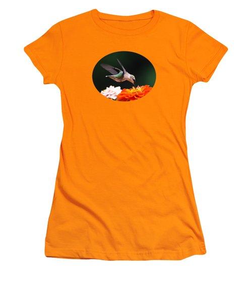 Hummingbird In Flight With Orange Zinnia Flower Women's T-Shirt (Junior Cut) by Christina Rollo