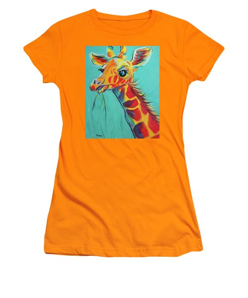 Women's T-Shirt (Junior Cut) featuring the painting Hungry Giraffe by Susan DeLain