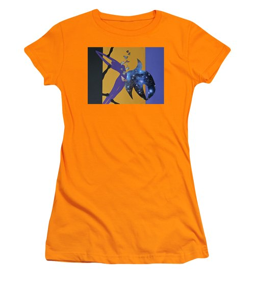 Women's T-Shirt (Athletic Fit) featuring the mixed media I Know Why The Caged Bird Sings by Michele Myers