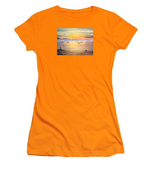 Women's T-Shirt (Athletic Fit) featuring the painting Impressions Of Provincetown by Bill Holkham